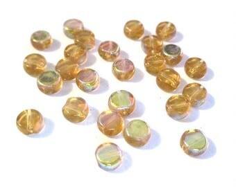 20 round flat yellow orange AB glass beads 6mm