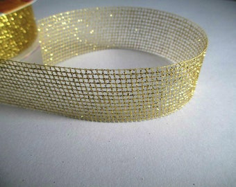 2.50 m 27mm gold Christmas deco tape