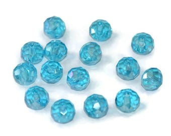 10 Sky Blue Crystal rondelle iridescent beads have faceted 6x8mm