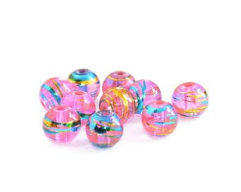 50 translucent pink, blue and gold glass beads 8mm