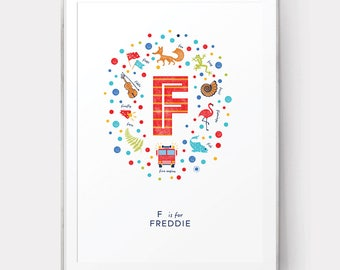 Letter F Nursery Print, Personalised Baby Name Wall Art, Letter F Art Print, Boys Name Print, F is for Fox, Baby Boy Print, Nursery Decor