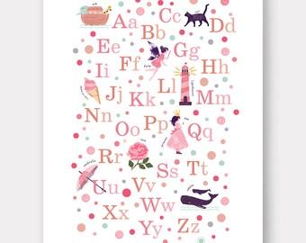 Girls Alphabet Poster, Alphabet Print, Illustrated Alphabet Wall Art, ABC Nursery Print, Girls Nursery Wall Art, Kids ABC Art