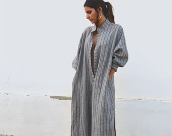 ANAIS Grey striped, ONE SIZE, tunic for women. Pure soft linen. Oversized,Loose fit.
