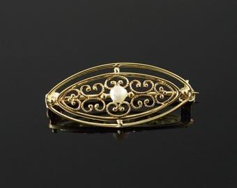14k 3mm Pearl Scroll Work Filigree Oval Pin/Brooch Gold