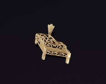 14k 2D Piano Scroll Filigree Musical Instrument Charm/Pendant Gold