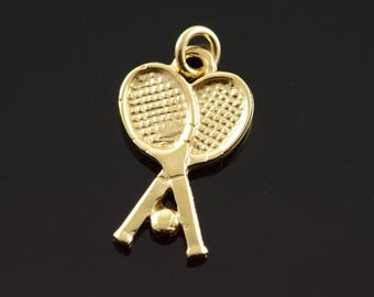14k Tennis Raquet Ball Crossed Charm/Pendant Gold