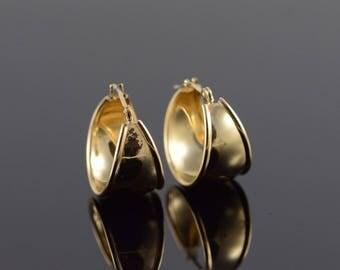 14k Wide Hoop Earrings Gold