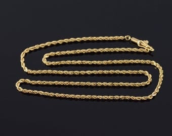 1.9mm Fancy Rope Chain Link Necklace Gold