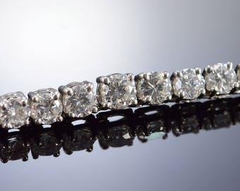 "15.10 Ctw G-H / VS Diamond Tennis Necklace Platinum 17"""