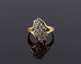 14k 0.60 CTW Diamond Cluster Ring Gold