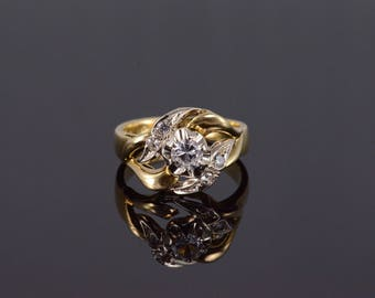 14k Art Nouveau Wavy Milgrain Travel Engagement Ring Gold