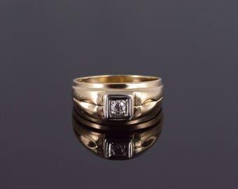 14k Three Stone Diamond Mens' Wedding Band Ring Gold