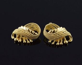 18k Heavy Fancy Rope Clip On Designer Earrings Gold