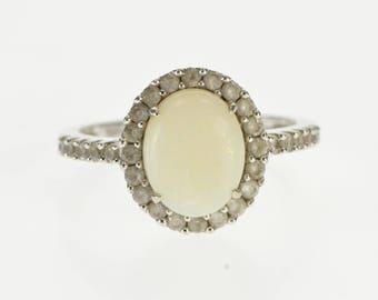 10k Opal Cubic Zirconia Halo Alternative Engagement Ring Gold