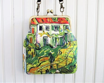 "Vincent Van Gogh Stairway at Auvers Vintage Barkcloth Fabric 6"" Antique Brass Kisslock Frame Crossbody Shoulder Bag Purse"