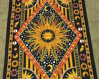 Yellow Celestial Hippie Boho Tapestry