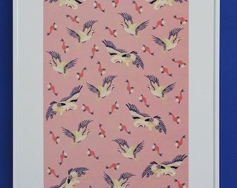 Crane poster / skull Print