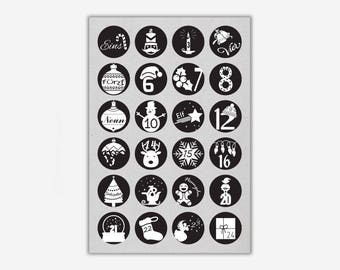 Stickers 1-24 'CHRISTMAS', black // 24pcs. - 4cm