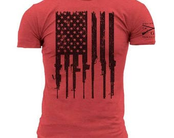 Grunt Style R.E.D. rifle flag tee shirt