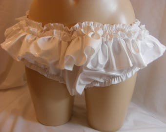 """sissy lingerie uniquie white pvc frilly knickers panties waist/ hip 32""""-44"""" kinky fetish B37"""
