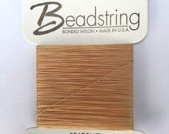 Jewellery Making Stringing Materials Beadsmith Bonded Nylon Thread Card - Natural/Beige - Size 2 - 26 Yards