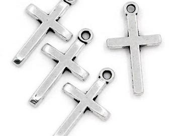 10 pendants 24 mm Christian cross