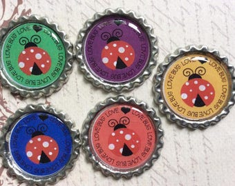SET of 5 -LOVE BUG Ladybug Bottle Caps For Pendants, Hairbows Hair Bow Centers - Ready to use
