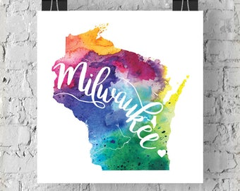Custom Wisconsin Map Art, WI Watercolor Heart Map Home Decor, Milwaukee, Madison or Your City Hand Lettering, Personalized Giclee Print