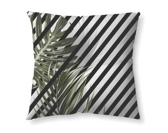 Tropical Leaves with Stripes - floor pillow