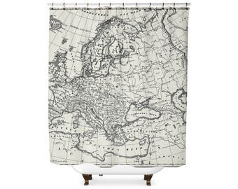 Vintage Europe map shower curtain