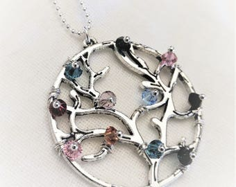 Family Tree Birthstone Necklace,Grandma Necklace,Mother Necklace,Grandma Jewelry,Mom Jewelry,Gift for Grandma,Mother Gift,Grandmother Gift
