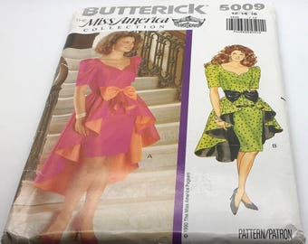 Miss America Butterick  5009 Sewing Pattern Dress Above Below Mid Knee Longer Back Semi Fitted  Bodice Contrast Bow Size  12 14 16