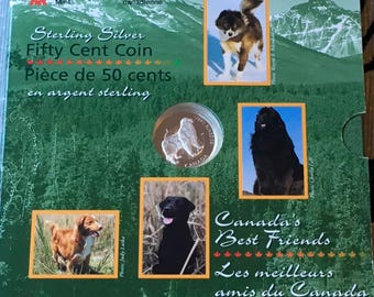 Canada 1997 50 Cents Sterling Silver Coin Newfoundland Dog  Canada's Best Friends Canadian Coin RCM Royal Canadian Mint