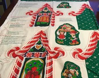 Tex Union Panel Fabric Christmas Toy Shop  Box Cut Snd Sew Fabric Cheryl Ann Johnson   Christmas Candy Cane Elves Holiday  Decor DIY