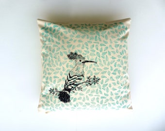 Cushion hoopoe screen print 50 x 50 cm