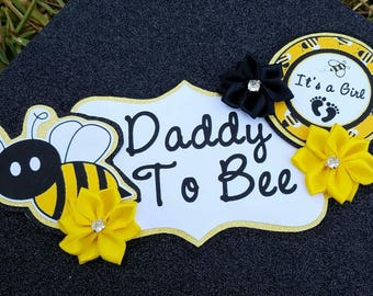 Bumble Bee Black Yellow White Themed Daddy To Bee Baby Shower Corsage
