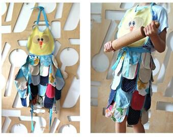 Children Apron Owl Pinafore dress Art apron Party dress girls Girl apron Personalised Gift Child gift Apron dress girls Party outfit