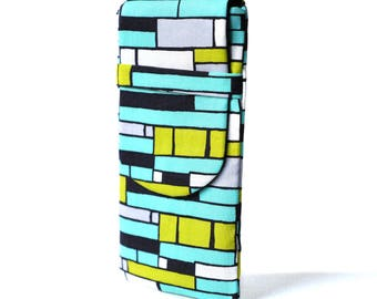 Case Iphone 6 and 7 more cover portable quilted cotton fabric turquoise green graphic pattern grey black lime