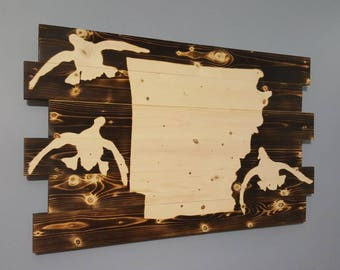 State of Arkansas, Duck Hunting, Waterfowl Art, Arkansas Silhouette,  Rustic, Hunting Decor, Other States Available