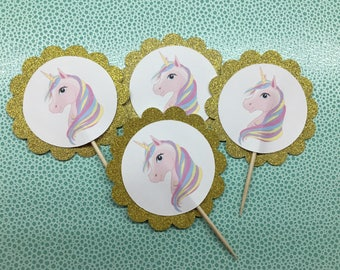 Unicorn cupcake toppers (12)