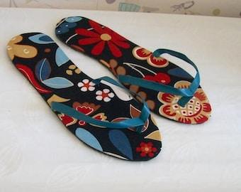 Floral flip flops Black flower thong sandals with flower design