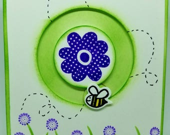 Bee Happy spinner card, bee card, spinner card, bee flower card, bee birthday card, bee party theme, child birthday card, bee shower