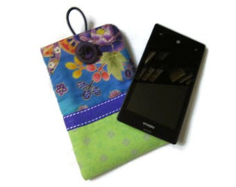 cover, case, pouch for cell phone, sunglasses, fabric multicolored Japanese green fabric