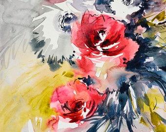 ORIGINAL watercolor, watercolor flowers painting, original abstract painting, red watercolor, red flower art, red flower artwork