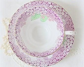 Vintage Grosvenor Porcelain Teacup and Saucer, Numbered, Millefleur Decor, England