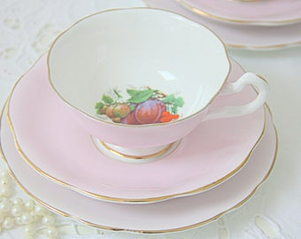 Vintage Springfield Bone China Pink Tea Trio, Cup and Sauces and Pastry Plate, Fruit Decor, England