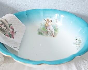 Rare Large Antique Gradient Blue Wash Basin, Large Bowl, Women and Cherub Decor, Forget-me-Not Decor