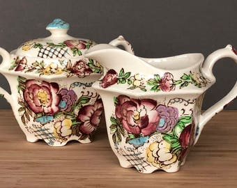 Vintage 1940's Farmhouse Decor, Farmhouse Kitchen, Antique Sadler Sugar and Creamer Set, Hand painted Sugar Bowl Creamer