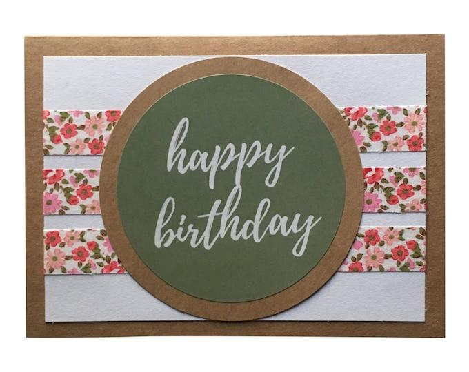 Calligraphy Happy Birthday Card - Green