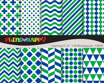 70% OFF Green And Blue Digital Papers, Cross/Polka Dot/Wave/Stripe/Chevron/Herringbone, Personal & Small Commercial Use, Instant Download